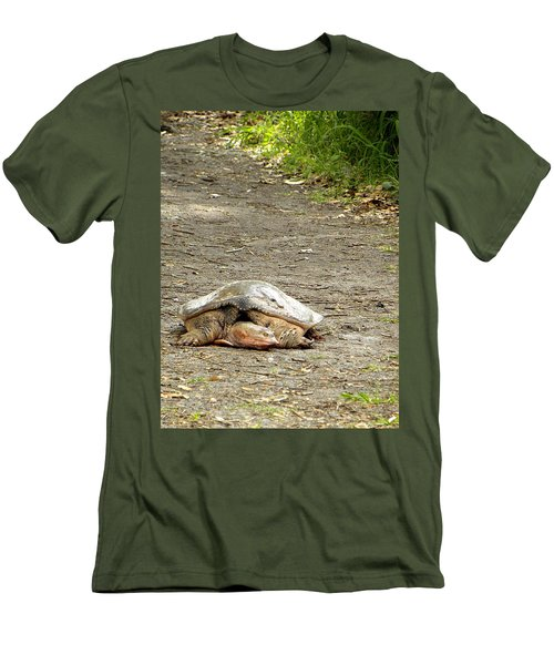 Men's T-Shirt (Slim Fit) featuring the photograph Florida Softshell Turtle  by Chris Mercer