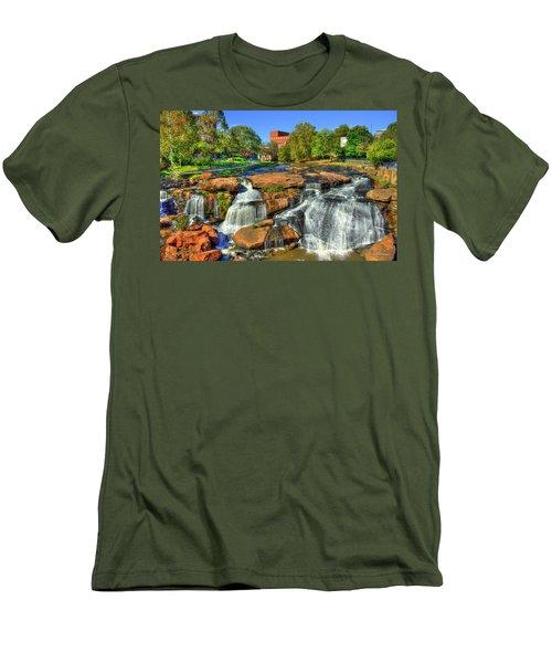Flow On Reedy River Falls Park Art Greenville Sc Men's T-Shirt (Slim Fit) by Reid Callaway