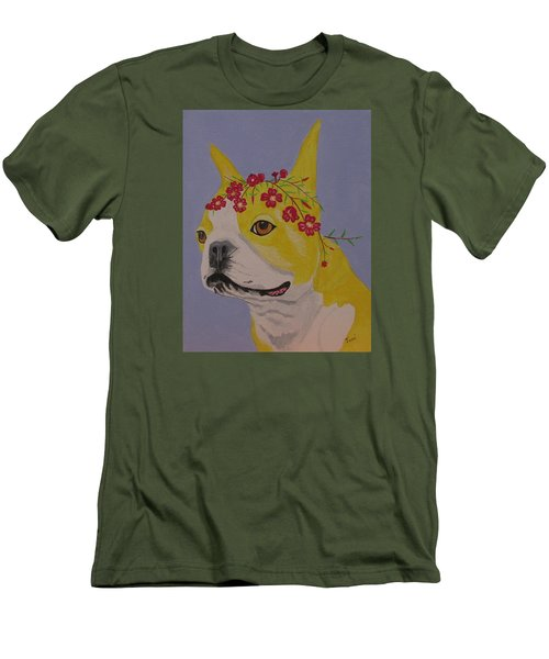 Men's T-Shirt (Slim Fit) featuring the painting Flower Dog 5 by Hilda and Jose Garrancho