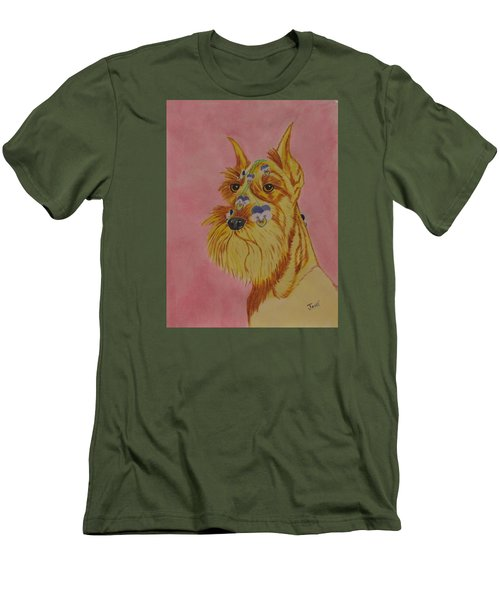 Men's T-Shirt (Slim Fit) featuring the painting Flower Dog 9 by Hilda and Jose Garrancho