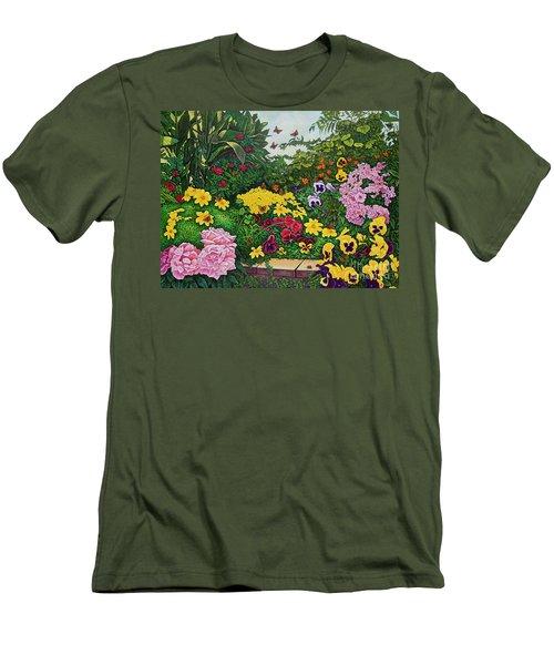Flower Garden Xii Men's T-Shirt (Slim Fit) by Michael Frank