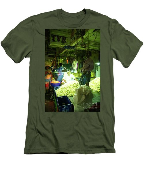 Men's T-Shirt (Slim Fit) featuring the photograph Flower Stalls Market Chennai India by Mike Reid