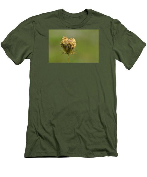Men's T-Shirt (Slim Fit) featuring the photograph Flower Turning Into A Seed Pod Dispenser 2  by Lyle Crump