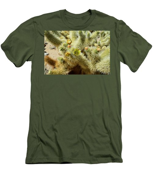 Flowering Cholla Cactus - Joshua Tree National Park Men's T-Shirt (Athletic Fit)