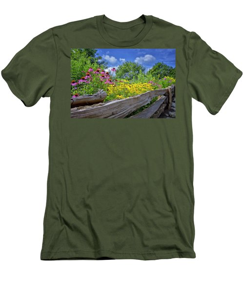 Flowers Along A Wooden Fence Men's T-Shirt (Slim Fit) by Steve Hurt
