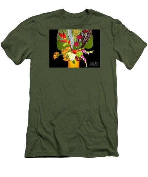 Men's T-Shirt (Slim Fit) featuring the photograph Flowers - Fan Arrangement by Merton Allen