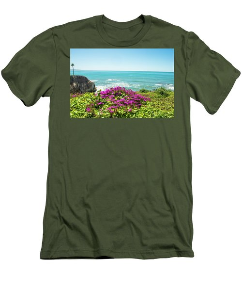 Flowers On The Cliff Men's T-Shirt (Athletic Fit)