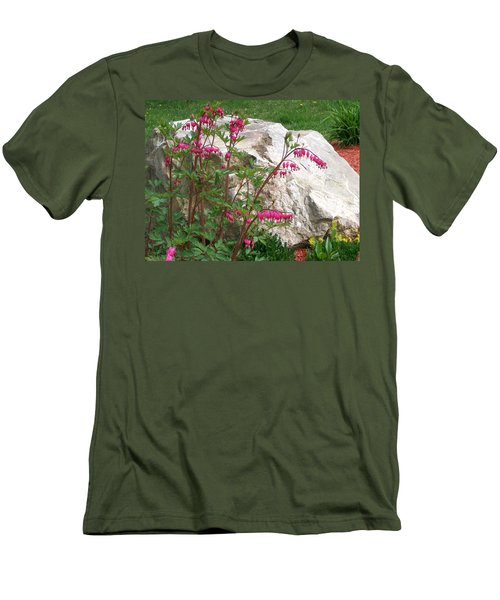 Men's T-Shirt (Slim Fit) featuring the digital art Flowers On The Rocks by Barbara S Nickerson
