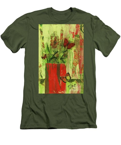 Men's T-Shirt (Slim Fit) featuring the mixed media Flowers,butteriflies, And Vase by P J Lewis