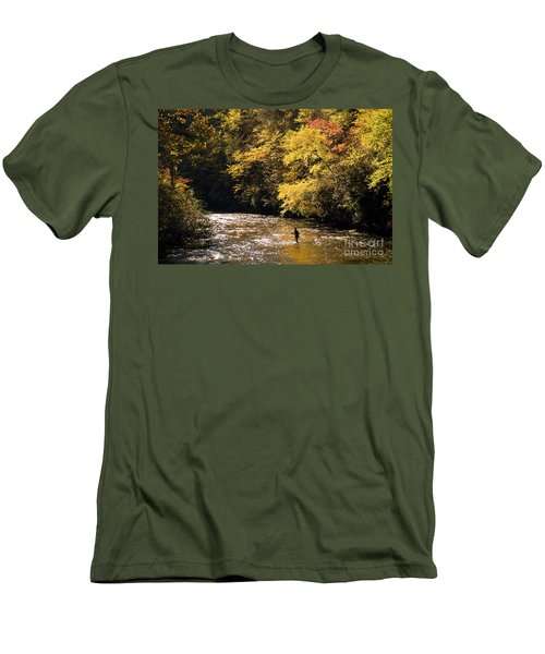Men's T-Shirt (Slim Fit) featuring the photograph Fly Fisherman On The Tellico - D010008 by Daniel Dempster