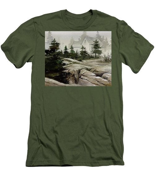 Men's T-Shirt (Slim Fit) featuring the painting Fog At The Coast by James Williamson