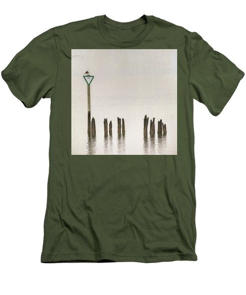 Men's T-Shirt (Athletic Fit) featuring the photograph Foggy Morning Texture Keyport Harbor by Gary Slawsky