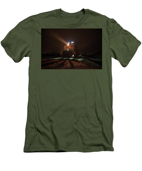 Men's T-Shirt (Athletic Fit) featuring the photograph Foggy Night Train  by Aaron J Groen