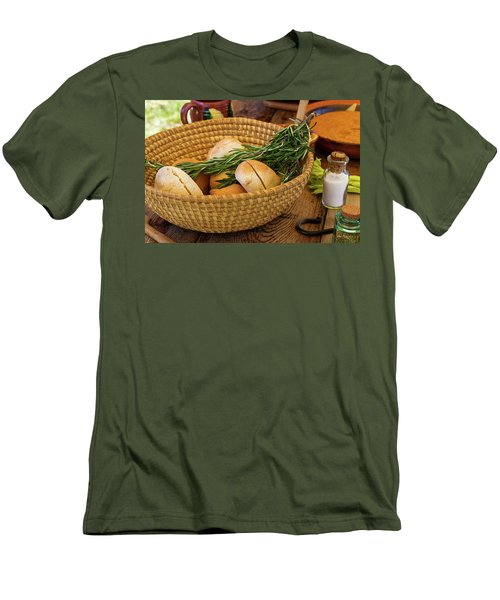 Food - Bread - Rolls And Rosemary Men's T-Shirt (Slim Fit) by Mike Savad