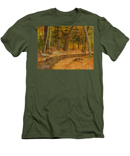 Men's T-Shirt (Slim Fit) featuring the painting Forest Life by Roena King
