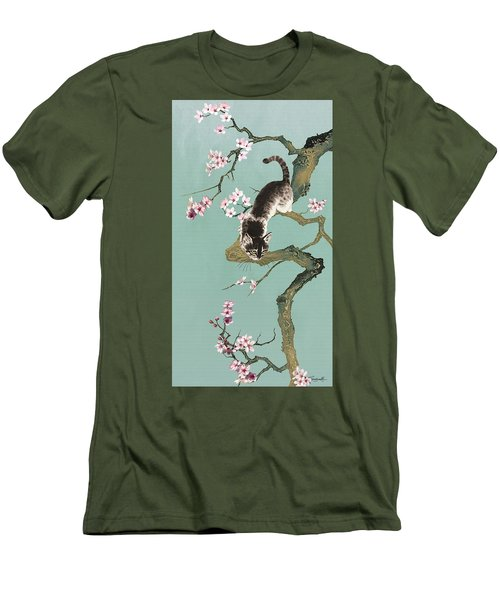 Fortune Cat In Cherry Tree Men's T-Shirt (Athletic Fit)