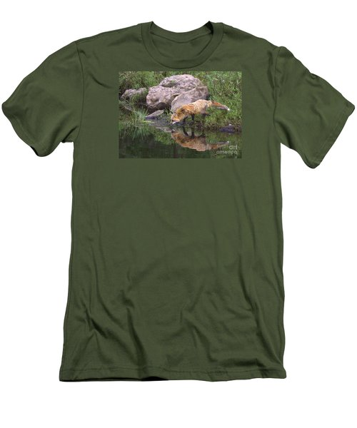 Men's T-Shirt (Slim Fit) featuring the photograph Foxy Reflection by Myrna Bradshaw
