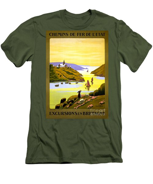 France Bretagne Vintage Travel Poster Restored Men's T-Shirt (Athletic Fit)