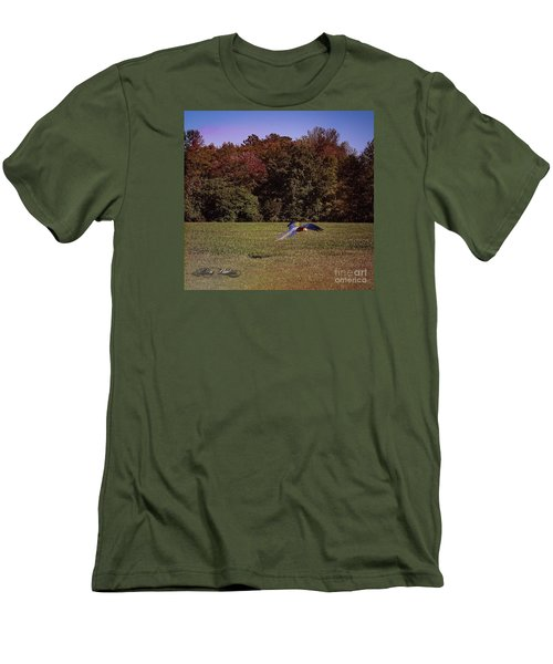 Free Flighted Macaw Men's T-Shirt (Slim Fit) by Melissa Messick