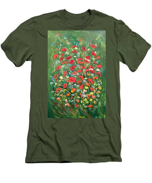 Men's T-Shirt (Slim Fit) featuring the painting Fresh Poppies From The Garden by Dorothy Maier