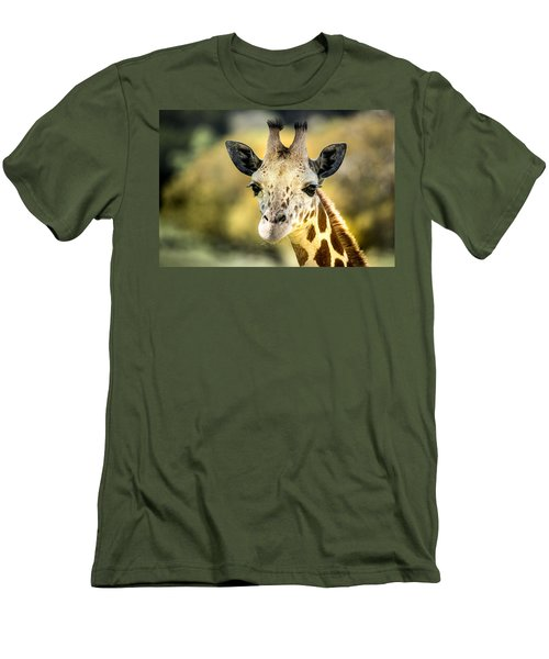 Friendly Giraffe Portrait Men's T-Shirt (Slim Fit) by Janis Knight