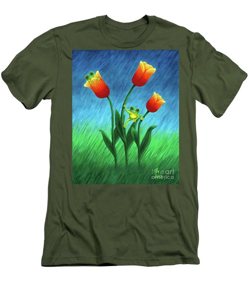 Froggy Tulips Men's T-Shirt (Athletic Fit)