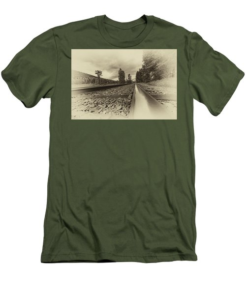Men's T-Shirt (Slim Fit) featuring the photograph From The Track Antique by Darcy Michaelchuk