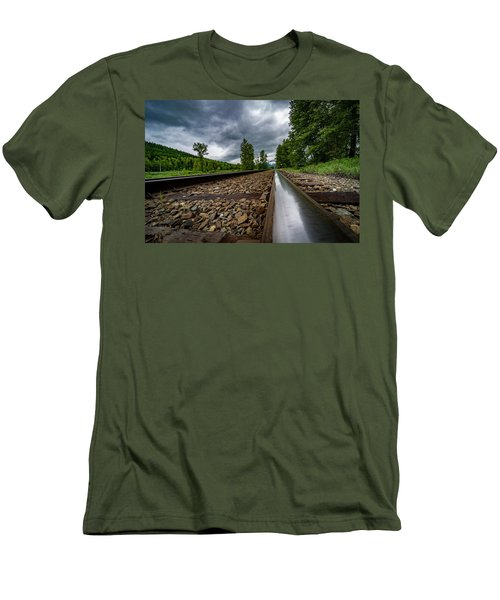 Men's T-Shirt (Slim Fit) featuring the photograph From The Track by Darcy Michaelchuk
