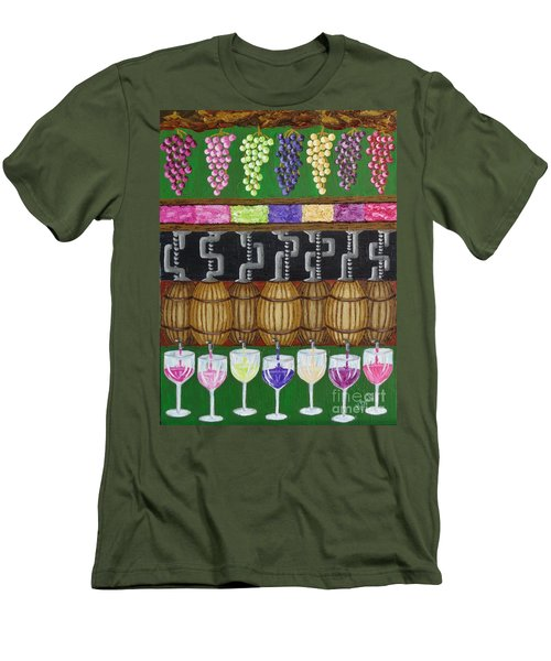 Men's T-Shirt (Slim Fit) featuring the painting From Vine To Wine by Katherine Young-Beck