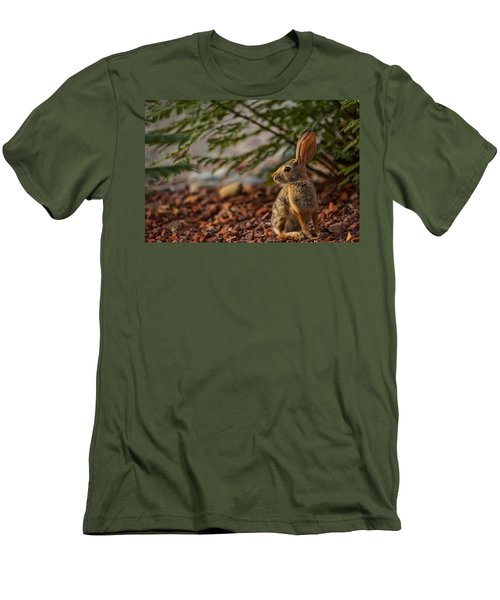 Men's T-Shirt (Slim Fit) featuring the photograph Frontyard Bunny by Dan McManus