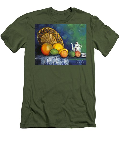 Fruit On Doily Men's T-Shirt (Slim Fit) by Marlene Book