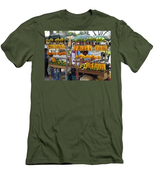 Fruit Stand Antigua  Guatemala Men's T-Shirt (Slim Fit) by Kurt Van Wagner