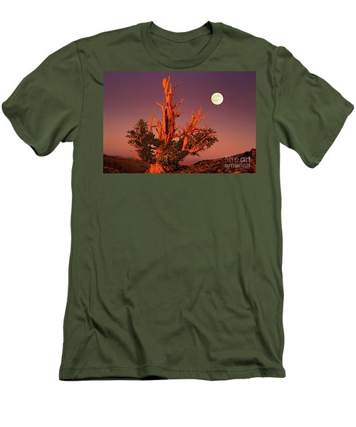 Men's T-Shirt (Slim Fit) featuring the photograph Full Moon Behind Ancient Bristlecone Pine White Mountains California by Dave Welling