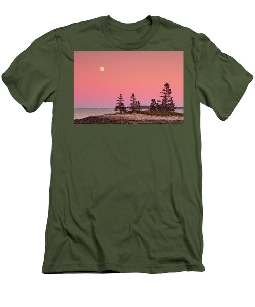 Men's T-Shirt (Slim Fit) featuring the photograph Full Moon Over Maine  by Emmanuel Panagiotakis