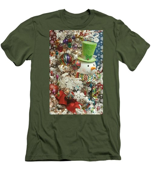 Fun Snowman Holiday Greeting Men's T-Shirt (Athletic Fit)