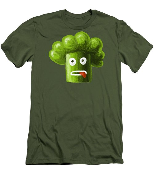 Funny Broccoli Men's T-Shirt (Slim Fit) by Boriana Giormova