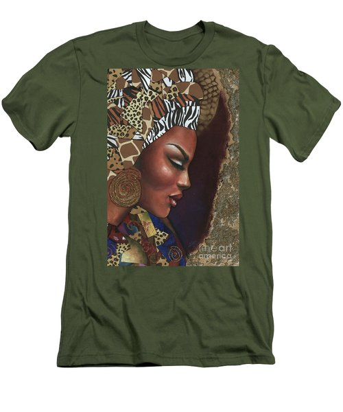 Men's T-Shirt (Slim Fit) featuring the mixed media Further Contemplation by Alga Washington