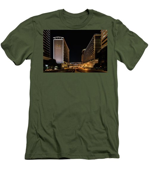 Men's T-Shirt (Athletic Fit) featuring the photograph Galt House Hotel And Suites At Night by Randy Scherkenbach