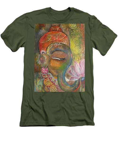 Men's T-Shirt (Slim Fit) featuring the painting Ganesha With A Pink Lotus by Prerna Poojara