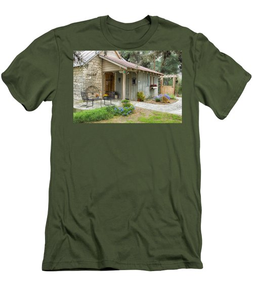 Men's T-Shirt (Slim Fit) featuring the tapestry - textile Garden Cottage by Kathy Adams Clark