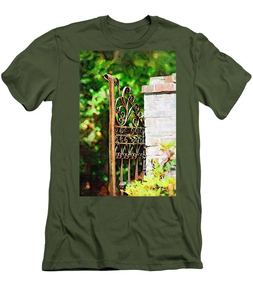 Men's T-Shirt (Slim Fit) featuring the photograph Garden Gate by Donna Bentley