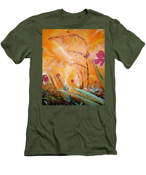 Men's T-Shirt (Slim Fit) featuring the painting Garden Moment by Winsome Gunning