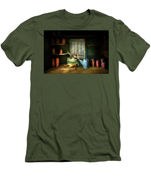 Men's T-Shirt (Slim Fit) featuring the photograph Gardener - The Potters Shed by Mike Savad