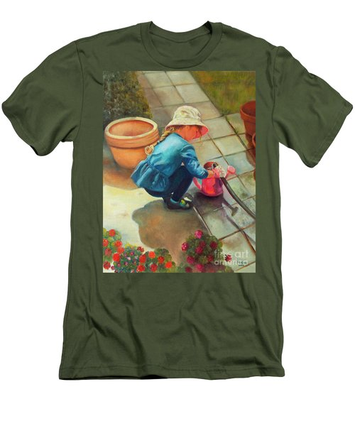Men's T-Shirt (Athletic Fit) featuring the painting Gardening by Marlene Book