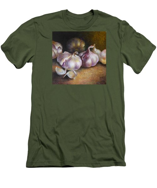 Garlic Painting Men's T-Shirt (Slim Fit) by Vali Irina Ciobanu