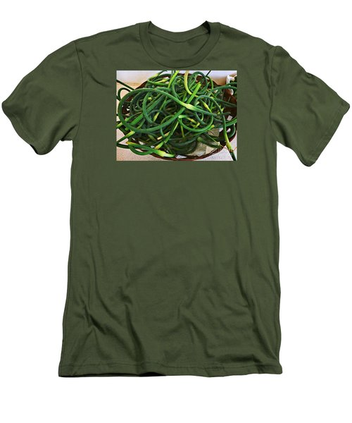 Garlic Stems Men's T-Shirt (Slim Fit) by Dee Flouton