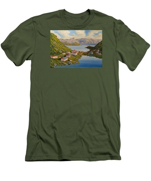 Gaultois Village Newfoundland Men's T-Shirt (Slim Fit) by David Gilmore