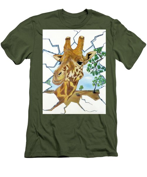 Men's T-Shirt (Slim Fit) featuring the painting Gazing Giraffe by Teresa Wing