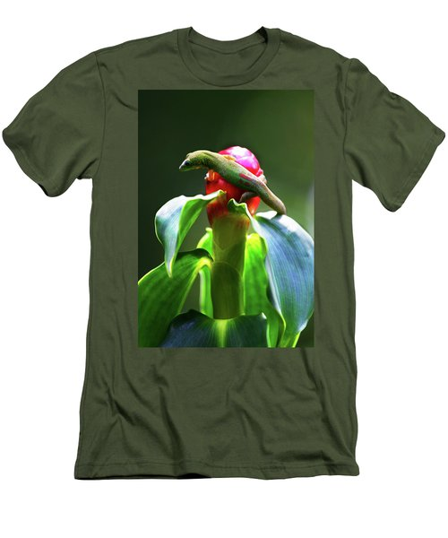 Men's T-Shirt (Slim Fit) featuring the photograph Gecko #3 by Anthony Jones