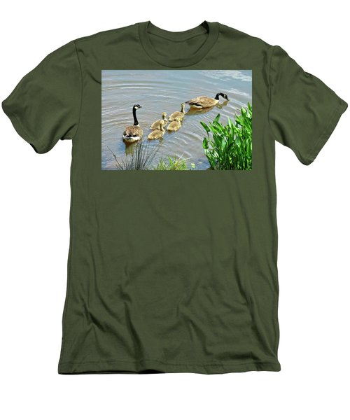 Geese And Goslings Men's T-Shirt (Slim Fit) by Ludwig Keck